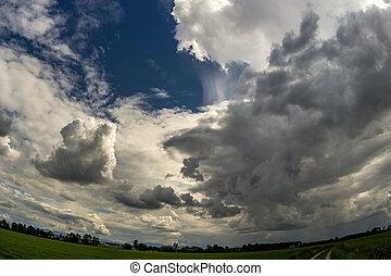 美しい, 空, 雰囲気, 雲