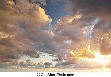 美しい, 空, sunset.