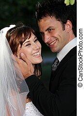 美しい, 笑い, 結婚式の カップル