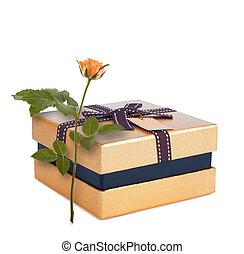 美しい, 箱, 贈り物, 金, バラ, 隔離された, 弓, ペーパー, 背景, 白