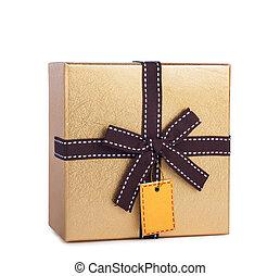 美しい, 箱, 贈り物, 金, 隔離された, 弓, ペーパー, 背景, 白, ラベル