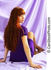 美しい, 紫色, 女の子, 背景