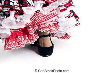 美しい, 細部, フィート, ダンサー, フラメンコ, 服