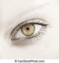 美しい, 終わり, 女性の目, の上