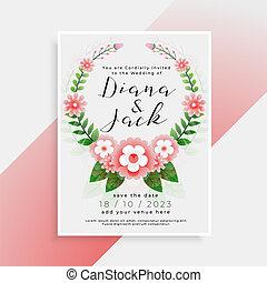 美しい, 結婚式, デザイン, 招待, 花, カード