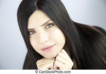 美しい, 絹のようである, 女, 非常に, 長い髪, 黒