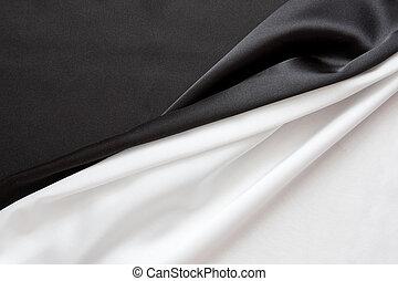 美しい, 絹のようである, 生地, 2 等分される, 才知に長けている, 波状, 黒, 白