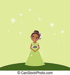美しい, 緑, 王女, 背景, 漫画