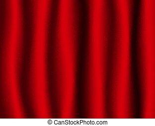 美しい, 織物, バックグラウンド。, 赤い絹, ひだのある布