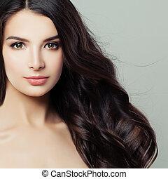 美しい, 美容術, 女, closeup., 巻き毛, 健康, 明確な 皮, 若い, 顔, treatment., 魅力的, 美顔術, hair., エステ, 美しさ, haircare