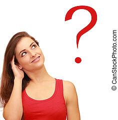 美しい, 考え, 質問, 印, 見る, ティーネージャー, 女の子, 赤
