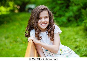 美しい, 肖像画, わずかしか, 若い 女の子