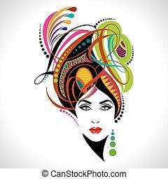 美しい, 肖像画, ファッション, 女性