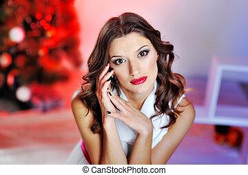美しい, 肖像画, 唇, 女, 赤