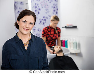 美しい, 肖像画, 大広間, hairstylist