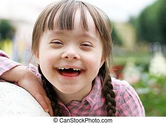 美しい, 肖像画, 女の子, 若い, 微笑