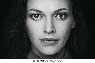美しい, 肖像画, 女性の表面
