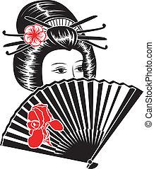 美しい, 肖像画, 女, アジア人