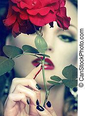 美しい, 肖像画, 女, バラ