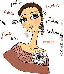 美しい, 肖像画, 女, ファッション