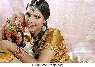 美しい, 肖像画, 女, ブルネット, indian