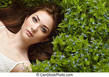 美しい, 肖像画, 女, 夏, 庭, 若い