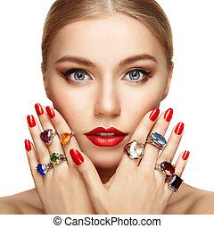 美しい, 肖像画, 女, 宝石類