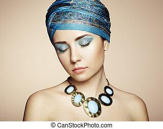 美しい, 肖像画, 女, 宝石類, 若い