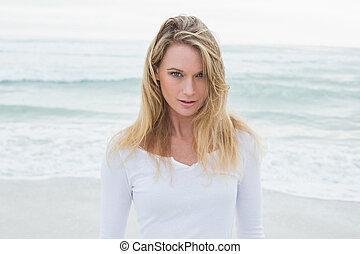 美しい, 肖像画, 女, 浜, 偶然