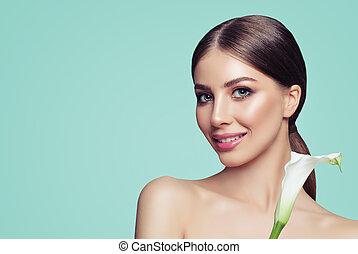 美しい, 肖像画, 女, 花