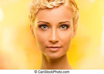 美しい, 肖像画, 女, 若い, ブロンド