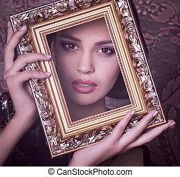 美しい, 肖像画, 女, 若い