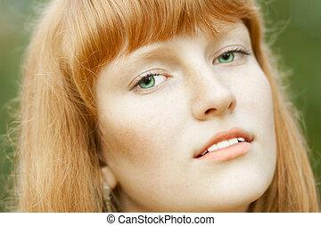 美しい, 肖像画, 女, 若い,  red-haired