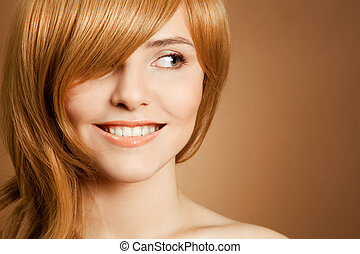 美しい, 肖像画, 微笑の 女性