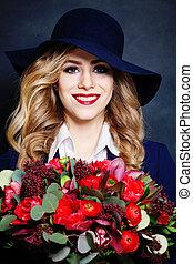 美しい, 肖像画, 微笑の 女性, 花