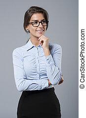 美しい, 肖像画, 若い, 女性実業家