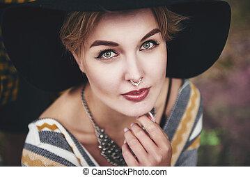 美しい, 肖像画, boho, 女