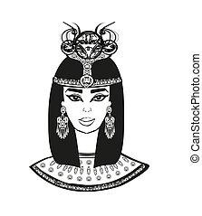 美しい, 肖像画, woman., エジプト人