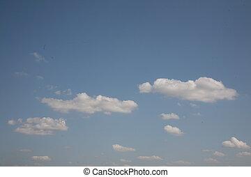 美しい, 肩, 彼の, 雲, 大きい, いくつか, もつ, ない, 空