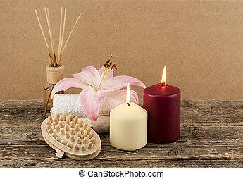 美しい, 背景, 木製である, 蝋燭, ブラシ, タオル, エステ, 構成, マッサージ