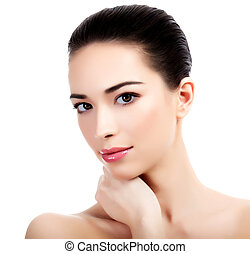 美しい, 背景, 皮膚, きれいにしなさい, 新たに, 女の子, 白