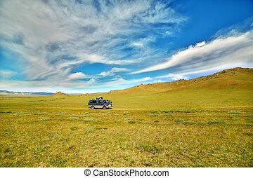 美しい, 自動車, 行く, mongolian, offroad