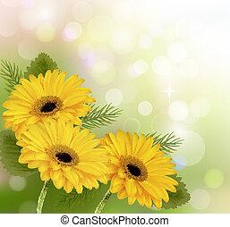 美しい, 自然, イラスト, flowers., ベクトル, 黄色の背景