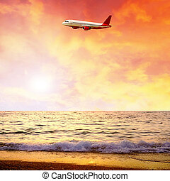 美しい, 自然, 空, 風景, 海, 飛行機, 日の出