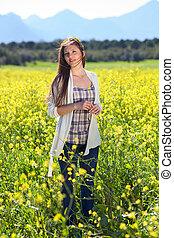 美しい, 自然, 若い女性, 国