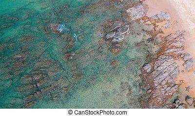 美しい, 航空写真, 岩, 水, 海, 海洋, 浜, 砂, 光景