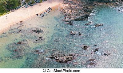 美しい, 航空写真, 海洋水, 海, ボート, 岩, 浜, 砂, 光景