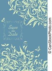 美しい, 色, パターン, 結婚式の招待, 花, ミント