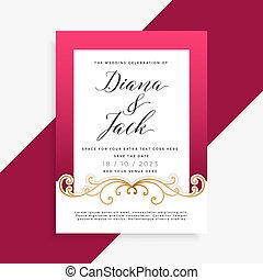 美しい, 花の意匠, カード, 結婚式