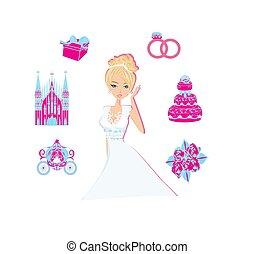 美しい, 花嫁, イラスト